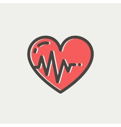 Heart with cardiogram thin line icon vector