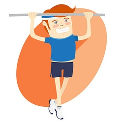 Hipster funny man pulling up on horizontal bar vector