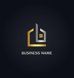 home design window realty gold logo vector image