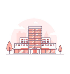 hospital building - modern thin line design style vector image