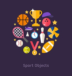 Icons and in Flat Design Style Sports Equipment vector image