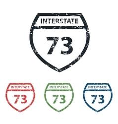 Interstate 73 grunge icon set vector