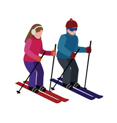 isometric isolated man and woman skiing happy vector image