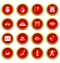 Japan icon red circle set vector