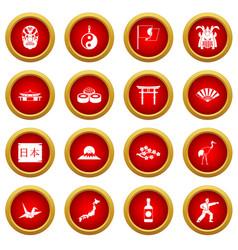 Japan icon red circle set vector