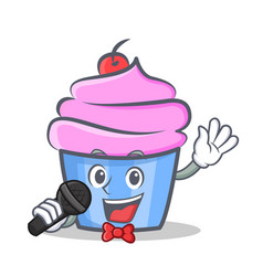 Karaoke cupcake character cartoon style vector