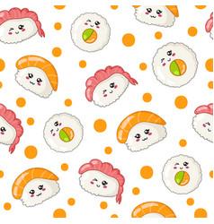 Kawaii sushi rolls vector