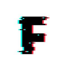 Logo letter f glitch distortion vector