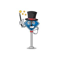 Magician toy straight ahead above cartoon chair vector