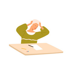Male pupil panic at exam sitting on desk vector