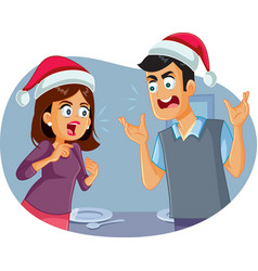 married couple arguing at christmas table vector image