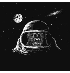 monkey astronaut in outer space vector image
