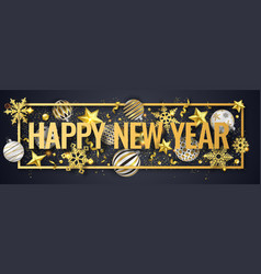 new year horizontal banner with shining snowflakes vector image