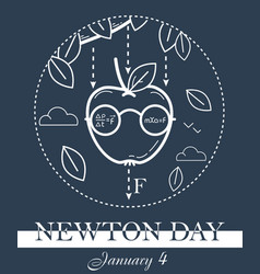 newton day black banner vector image