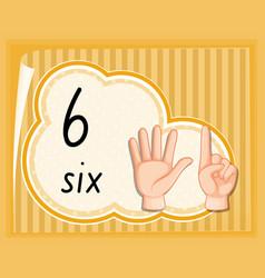 Number six hand gesture vector
