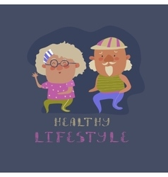 Old couple man and woman running vector image