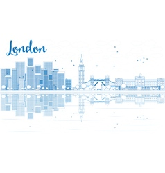 Outline London skyline with blue skyscrapers vector image