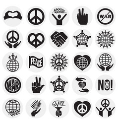 Peace icons set on circles background for graphic vector