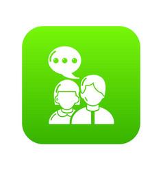 people conversation icon green vector image