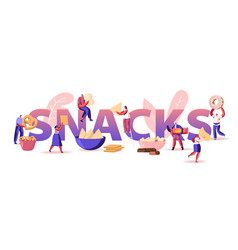 People eating snacks concept tiny male and female vector