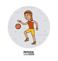 Physical education - girl playing basketball sport vector