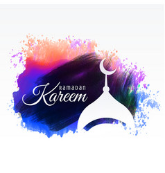 ramadan kareem festival greeting with watercolor vector image