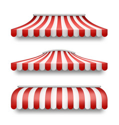 Realistic set of striped awnings for shops vector