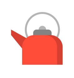 red retro teapot flat design icon vector image