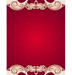 Red valentine background with hearts vector