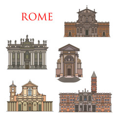 Rome architecture landmarks italy buildings vector
