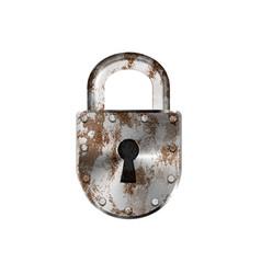 Rusty vintage metal lock on white vector