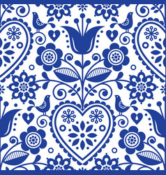 Scandinavian seamless folk art pattern vector