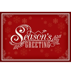 Season greeting word vintage frame vector