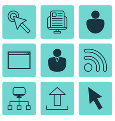 Set of 9 online connection icons includes send vector