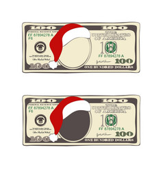 set of christmas bill one hundred dollars with vector image