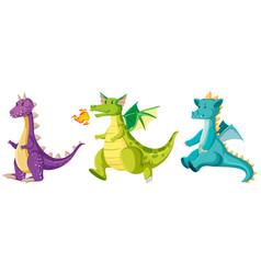 set of cute dragons vector image