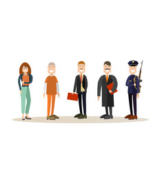 Set of law court people icons in flat style vector