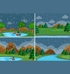 set raining in park vector image