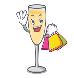Shopping champagne character cartoon style vector
