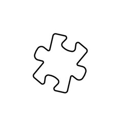 simple puzzle line icon black on white background vector image