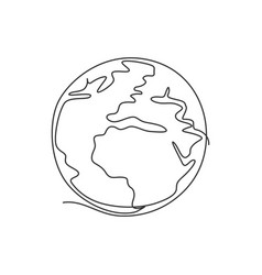 single continuous line drawing sphere global vector image