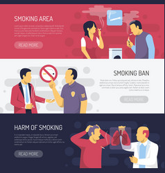 Smoking health risks horizontal banners vector