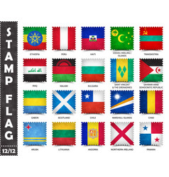 Stamp with official country flag set 12 12 vector