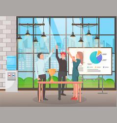 Successful work team teamwork achievement vector