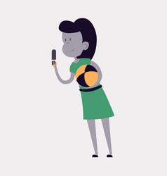 Summer girl eating a ice-cream cartoon vector
