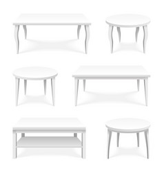 Table icons set isometric top isolated empty vector
