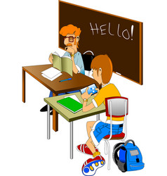 teacher and pupil vector image