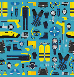 underwater diving equipment pattern or vector image