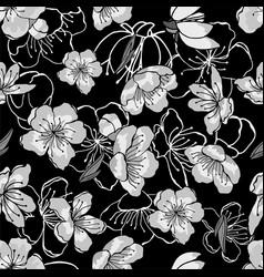 white gray black cherry flowers in oriental vector image