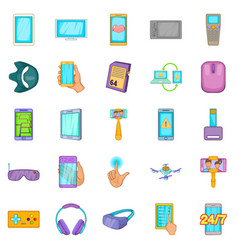 Widget icons set cartoon style vector